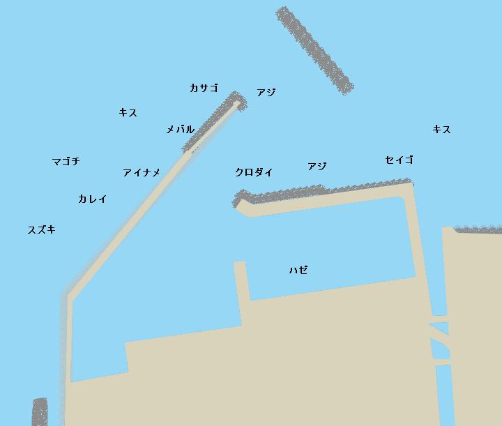 苅屋漁港ポイント図
