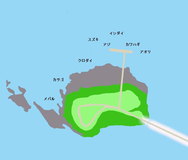 佐久島 大島・海釣りセンターポイント図