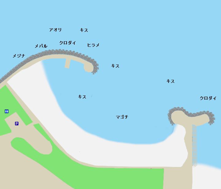 長浜海浜公園・多賀新堤防ポイント図