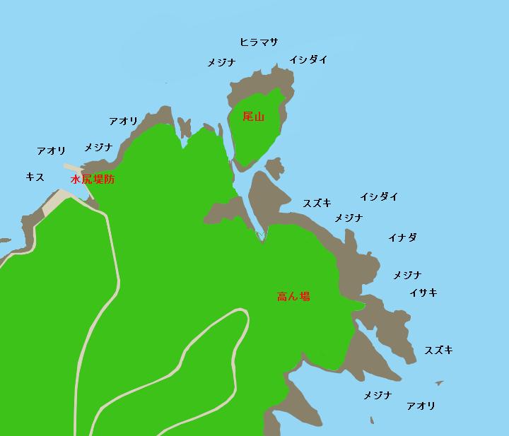 水尻堤防・尾山・高ん場ポイント図