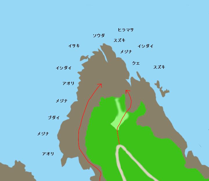 タライ岬ポイント図
