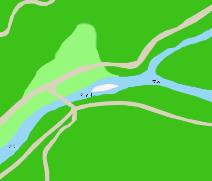 巴川神越川合流地点付近のポイント