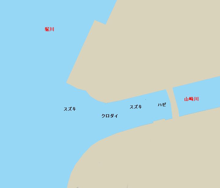名古屋港堀川・山崎川河口ポイント図