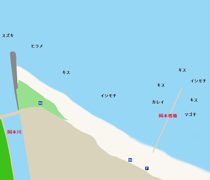 原岡海岸・岡本桟橋ポイント図