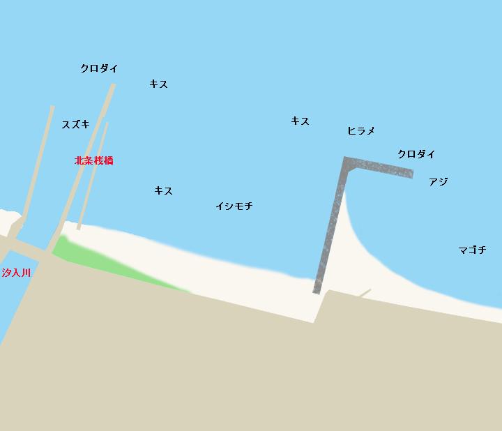 北条海岸・北条桟橋ポイント図