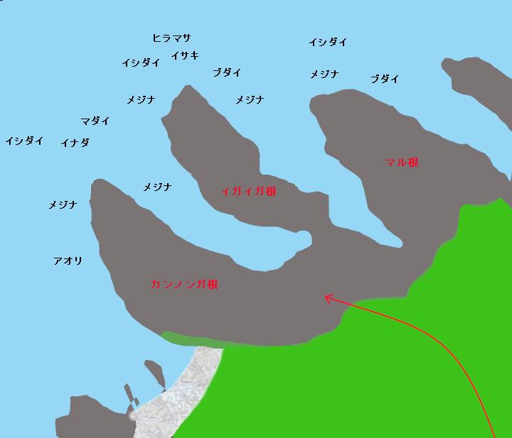 城ヶ崎海岸カンノンガ根・イガイガ根ポイント図
