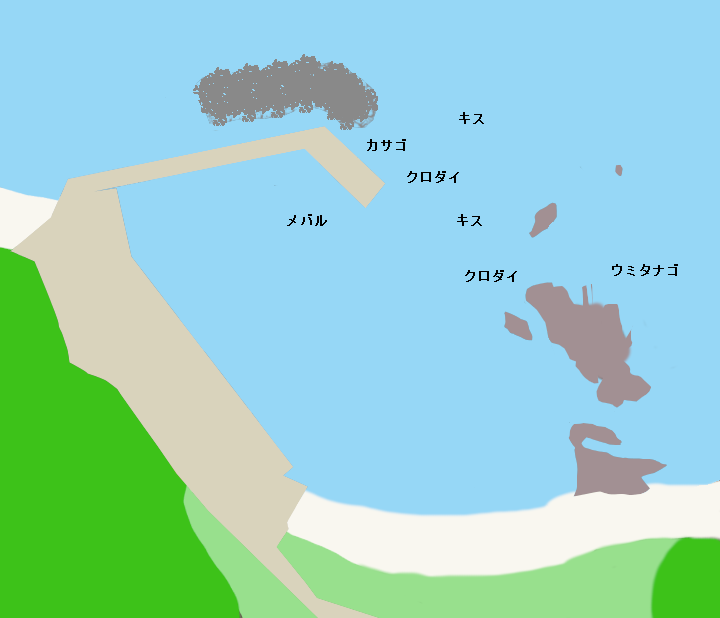 石小浦港ポイント図