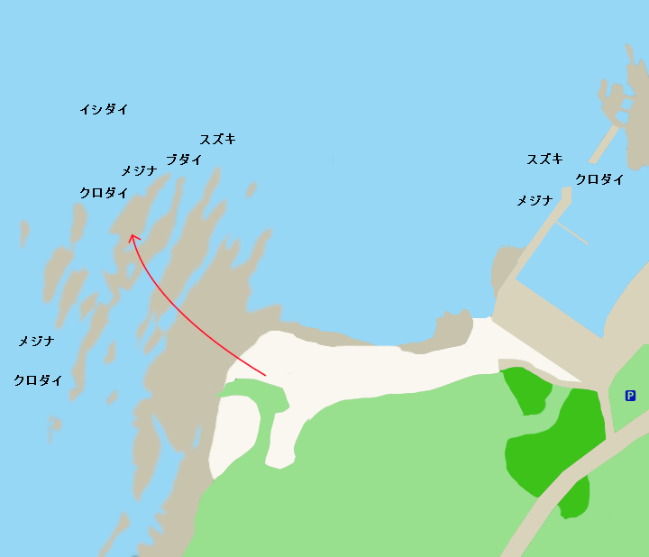 西川名港・ブダイ島ポイント図