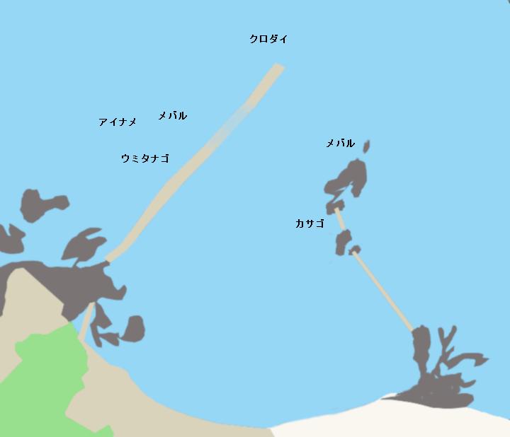 新田浦港ポイント図