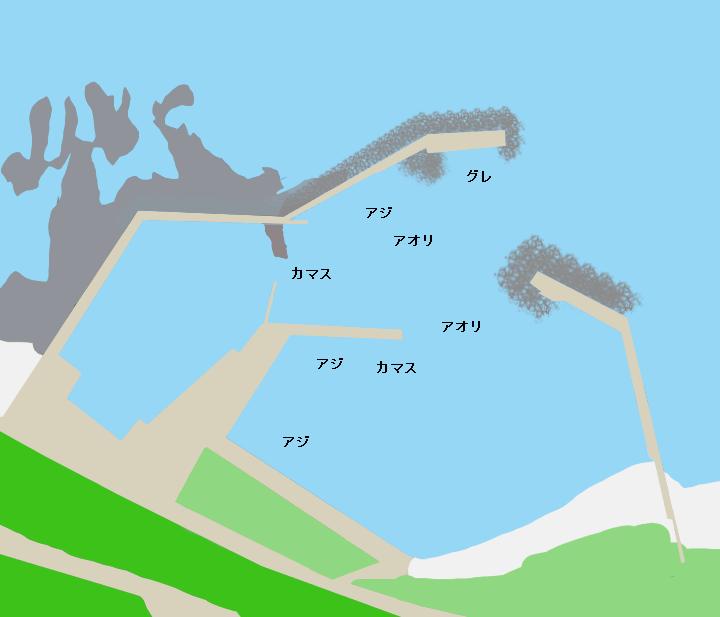 船瀬漁港(萩尾漁港)ポイント図