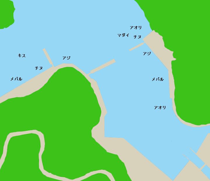 方座浦漁港ポイント図