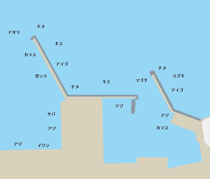 湊浦漁港(磯間港)ポイント図