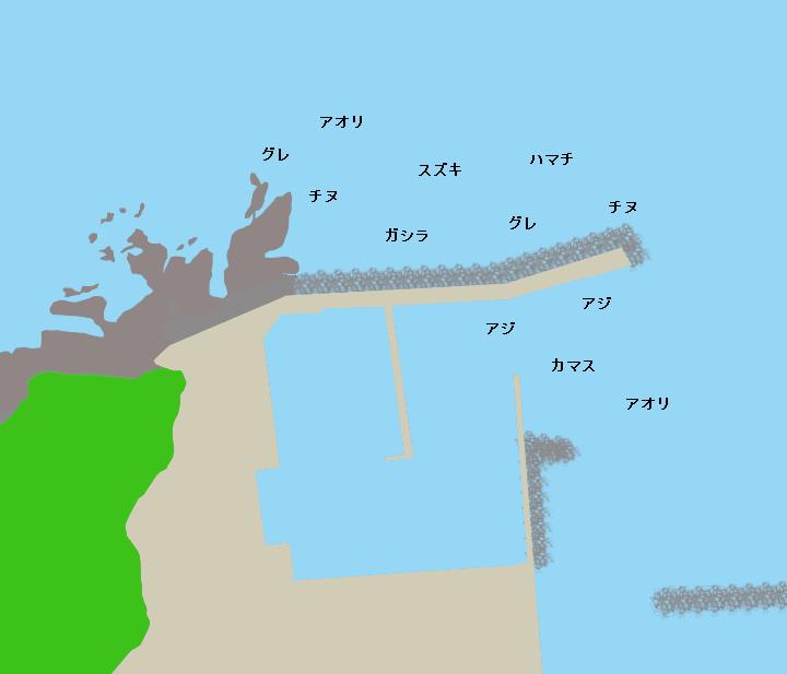 三尾漁港ポイント図