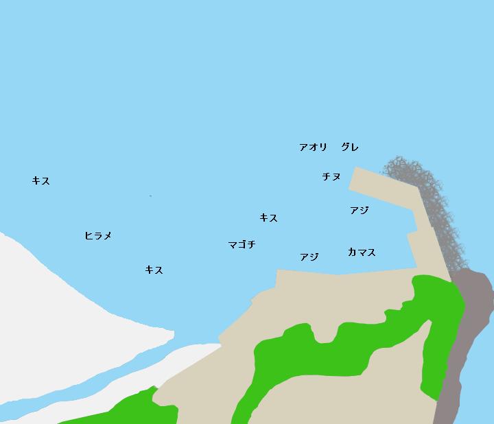 松崎港(大泊港)ポイント図