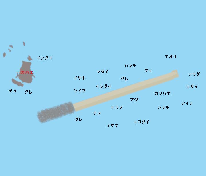 小浦一文字(沖の一文字)ポイント図
