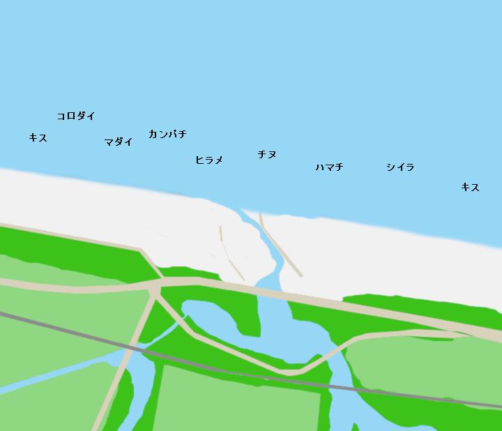 七里御浜(市木川河口付近)ポイント図