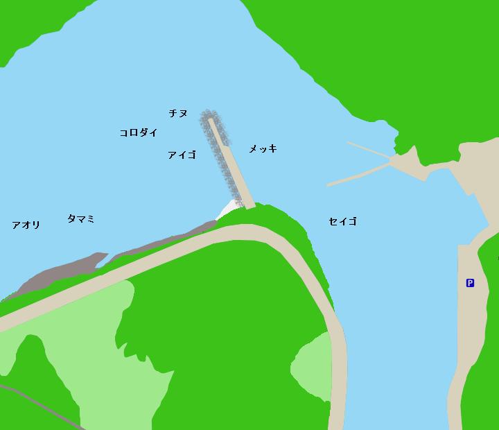 白浜袋漁港ポイント図
