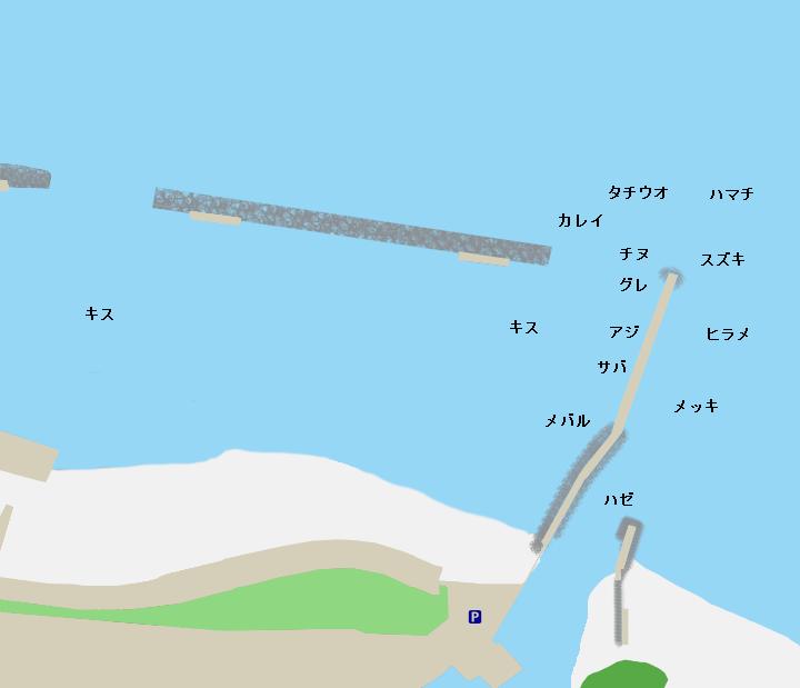阿万海岸ポイント図