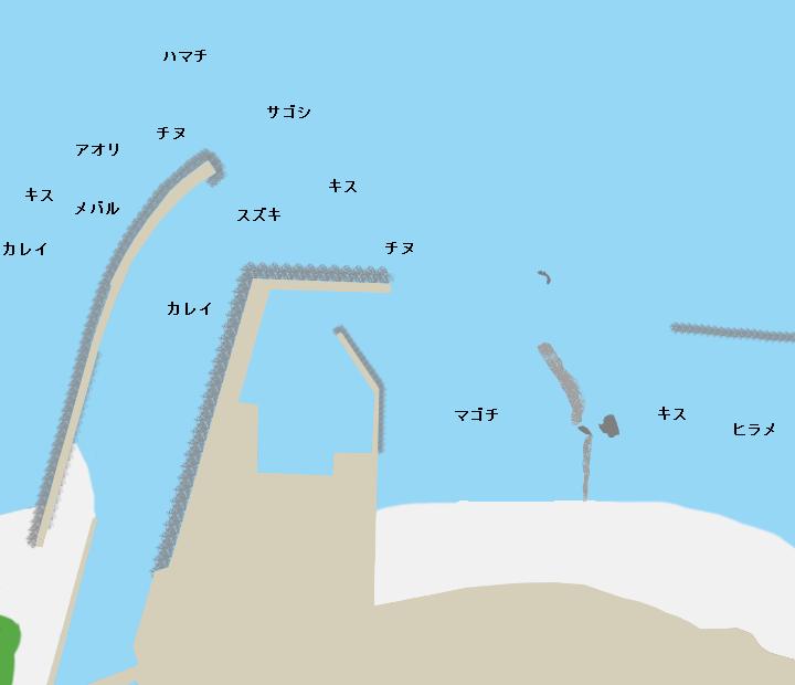 ハワイ海水浴場橋津漁港ポイント図