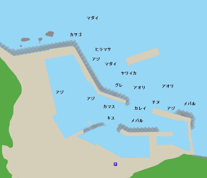 小伊津漁港ポイント図