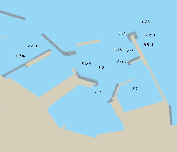 御来屋漁港ポイント図