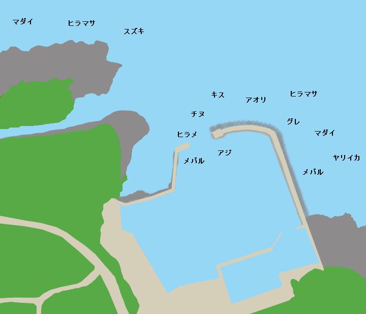 黒松漁港ポイント図