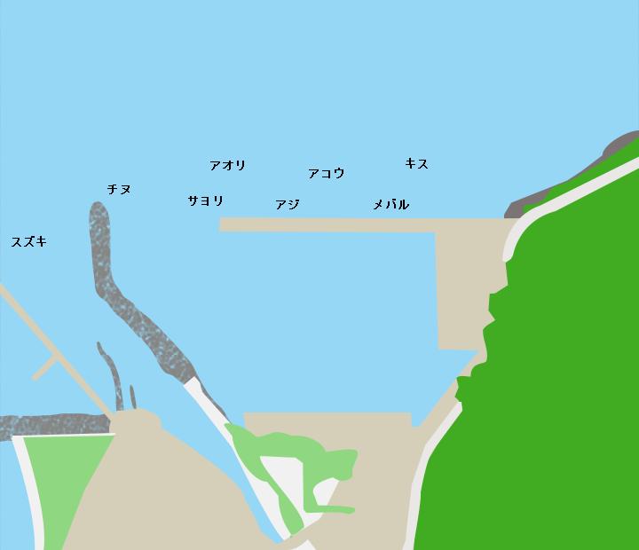 岡津漁港ポイント図