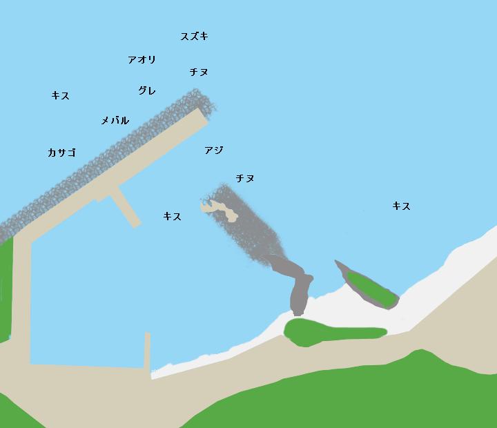 湯里漁港ポイント図