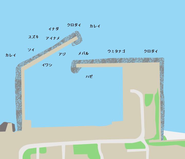造道漁港ポイント図