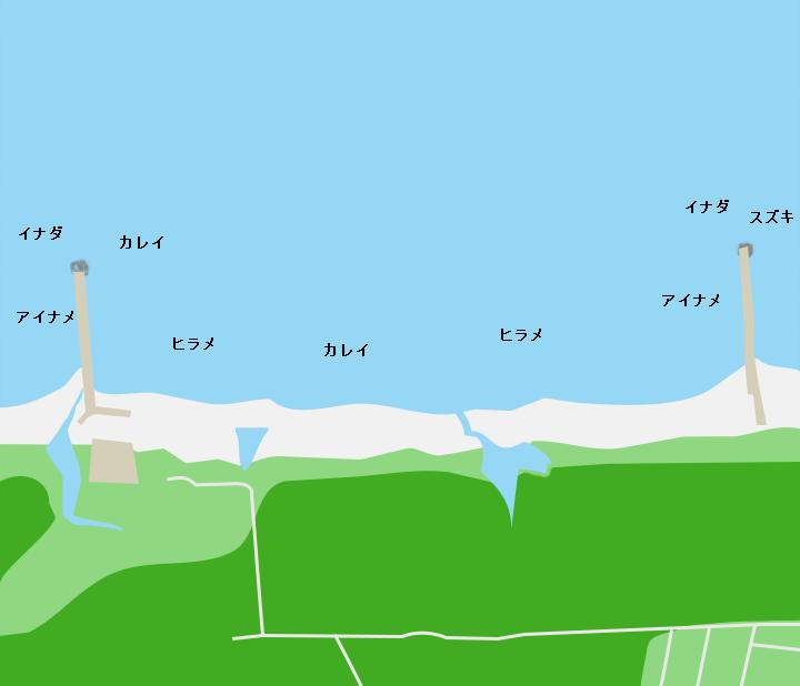 淋代海岸ポイント図