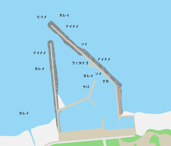 小田野沢漁港ポイント図