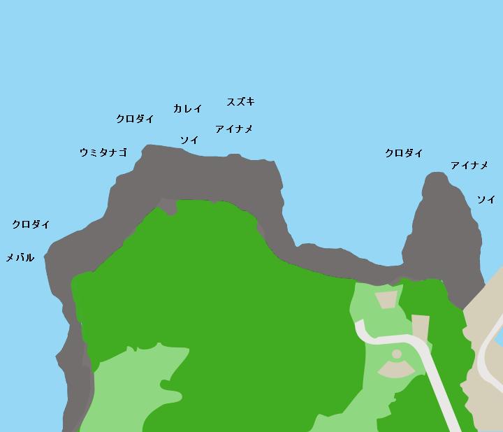 牛ノ首岬ポイント図