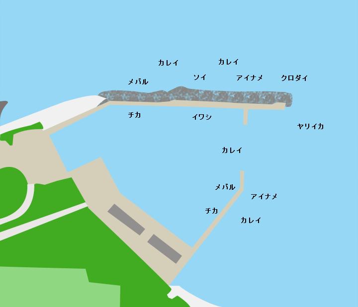鶏沢漁港ポイント図