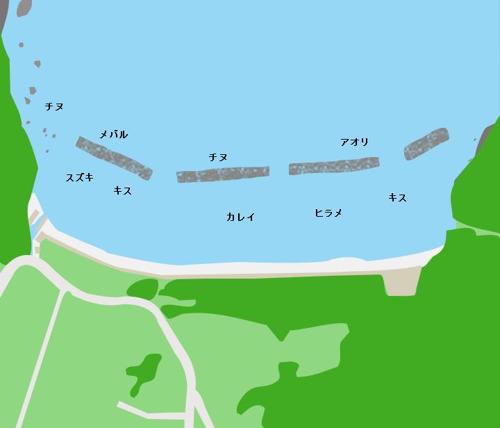 岡津海岸ポイント図