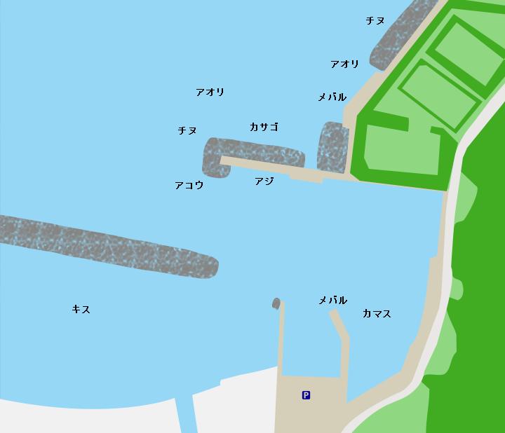 田烏漁港ポイント図