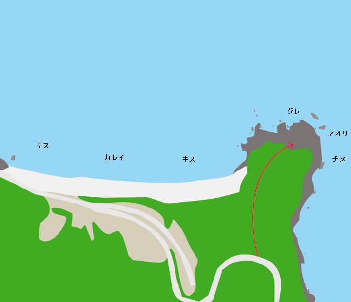 手の浦海水浴場ポイント図