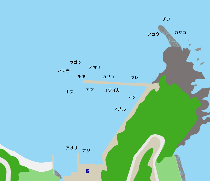 釣姫漁港ポイント図