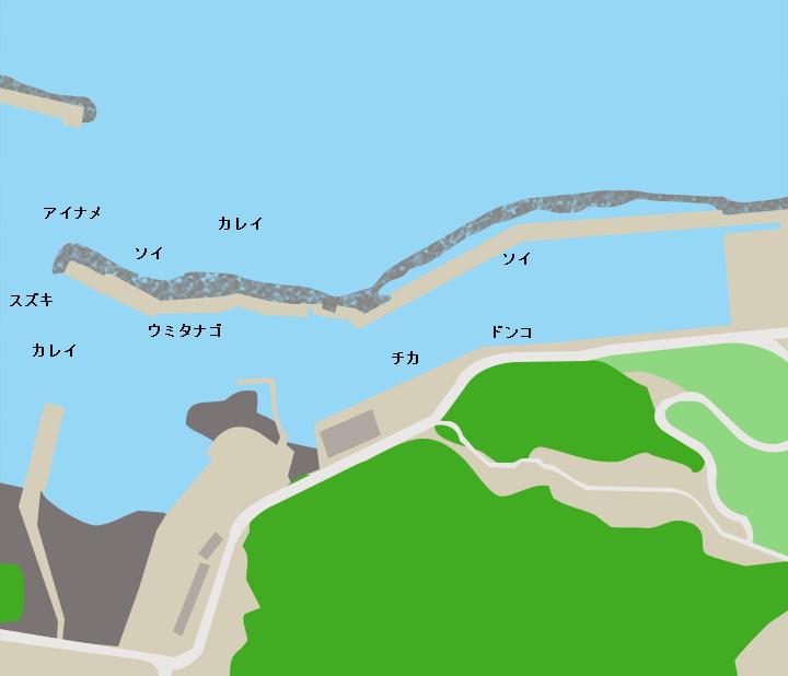 島の越漁港ポイント図