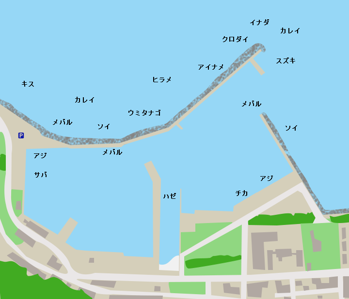 三厩漁港ポイント図