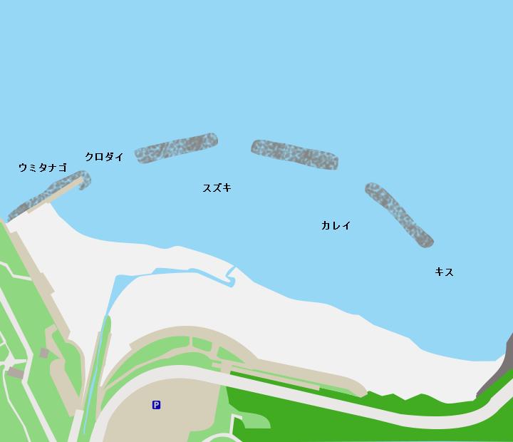 折腰内海水浴場ポイント図
