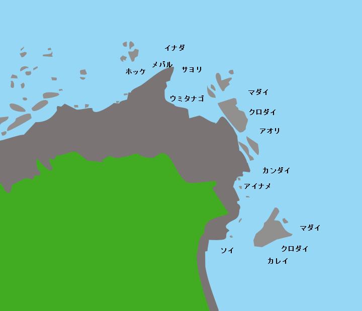 小泊岬(北灯台周辺)ポイント図