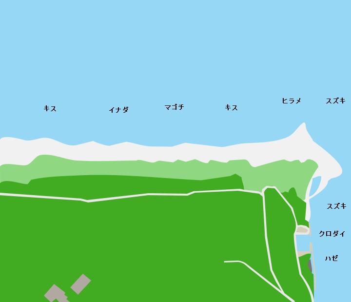 新屋浜・浜田浜ポイント図