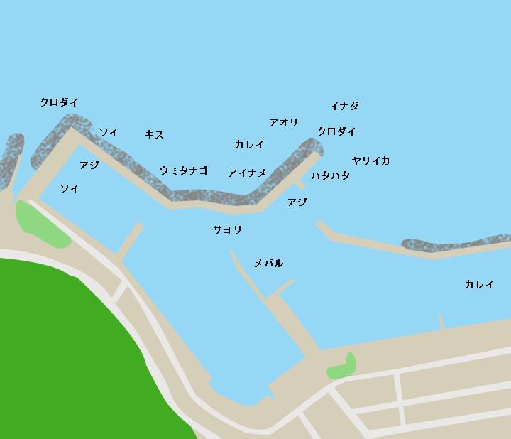 北金ヶ沢漁港ポイント図