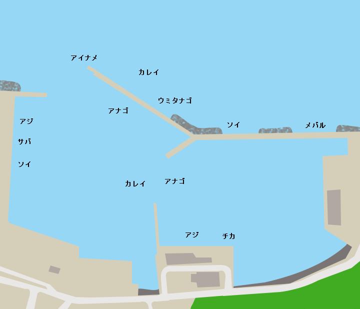 尾崎白浜漁港ポイント図