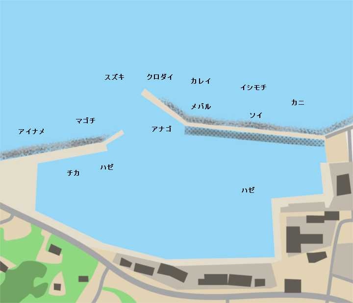 吉田花渕漁港ポイント図