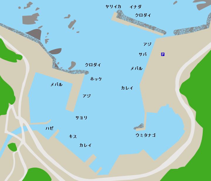 深浦漁港ポイント図