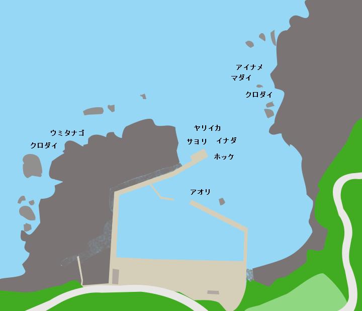 横磯漁港ポイント図