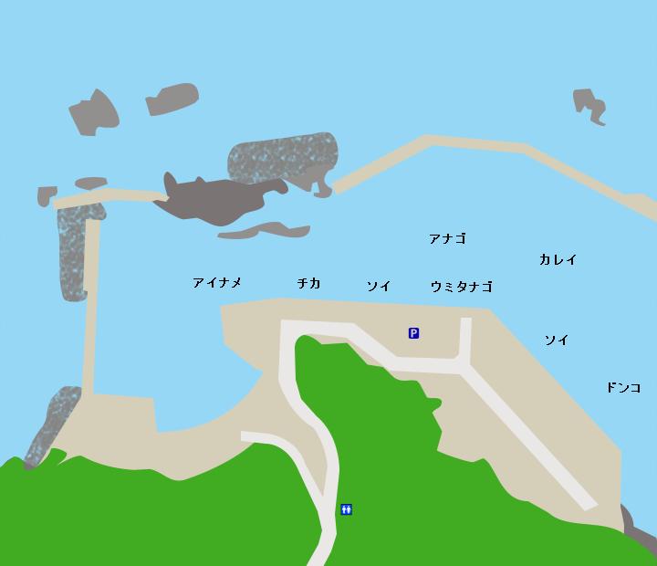 日出島漁港ポイント図