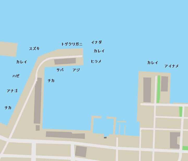 八戸港第三魚市場周辺ポイント図