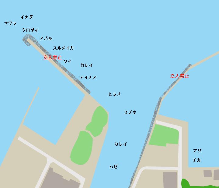 青森港堤川河口周辺ポイント図